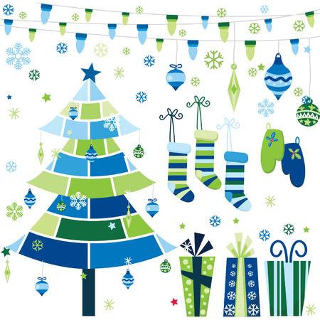 scarpbook: Blue Retro Christmas Design Elements