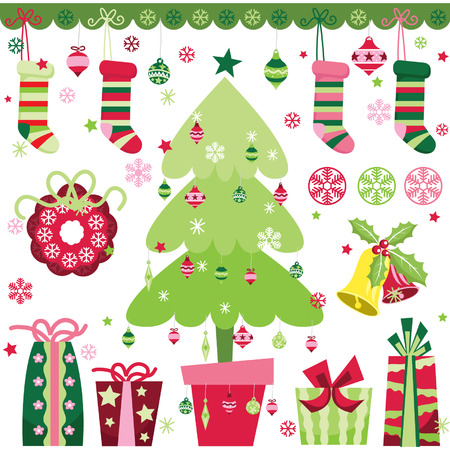retro christmas tree: Christmas Design Elements Set Illustration