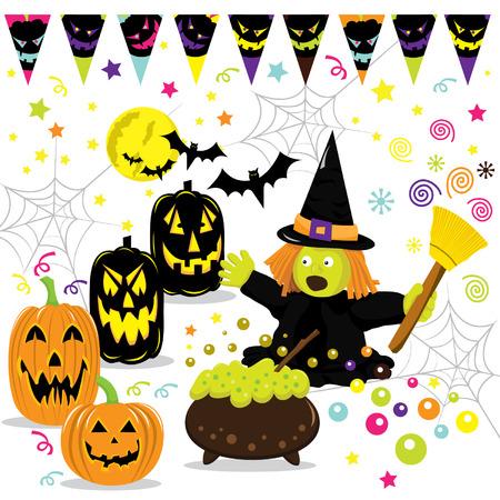 public celebratory event: Halloween Set Illustration