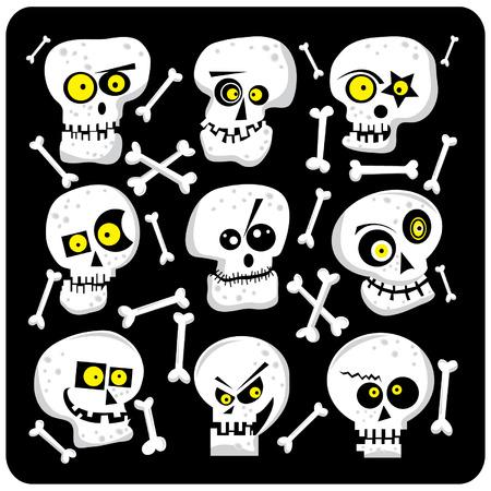 public celebratory event: Cute Skull Faces Illustration