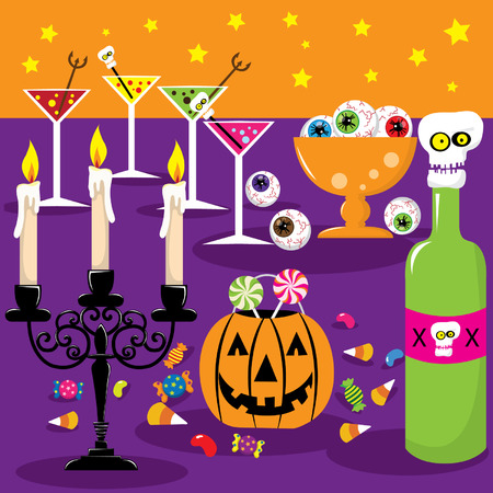 cocktail party: Halloween Party Invitation Illustration
