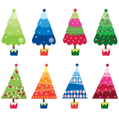 tree outline: Colorful Christmas Trees
