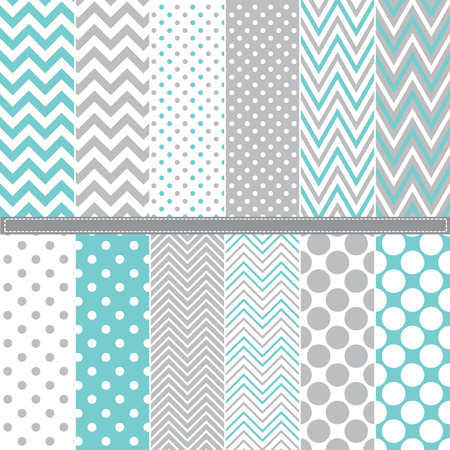 polka dot pattern: Polka Dot and Chevron seamless pattern set