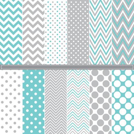 abstract patterns: Polka Dot et Chevron seamless ensemble Illustration