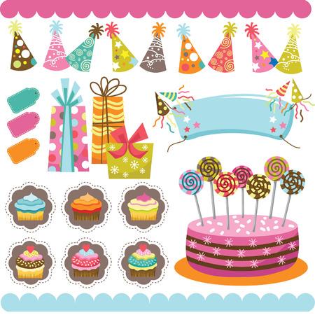 birthday celebration: Birthday Celebration Elements Illustration