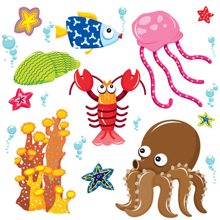sea shells on beach: Sea Creatures Cartoon Collection