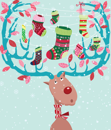 Cute Christmas Reindeer with Stocking