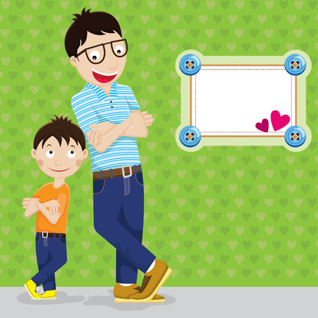 happy fathers day card: Father and Son Illustration