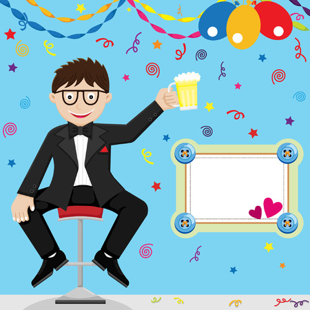 beer and necktie: Fathers Day Celebration Illustration