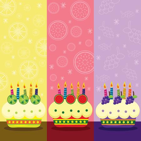vector illustration: Retro Birthday Fruits Cake