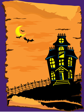 traditional house: Halloween Haunted House Illustration