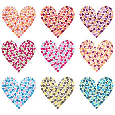 Rainbow Colorful Heart Shape Set Ilustracja