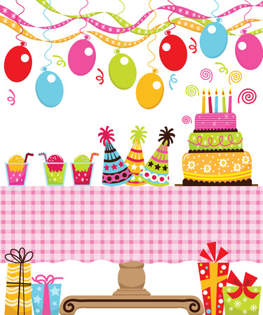 party table: Birthday Party Illustration