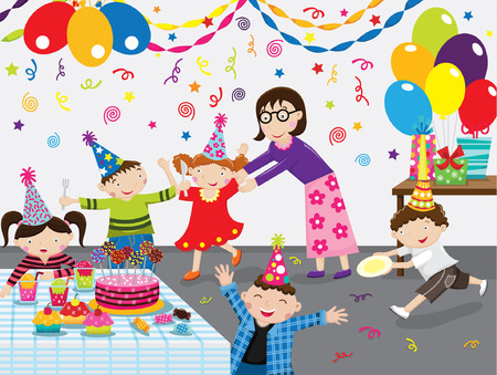 girl party: Birthday Party Illustration