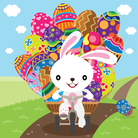 cartoon easter basket: Easter Bunny Deliver Painted Eggs