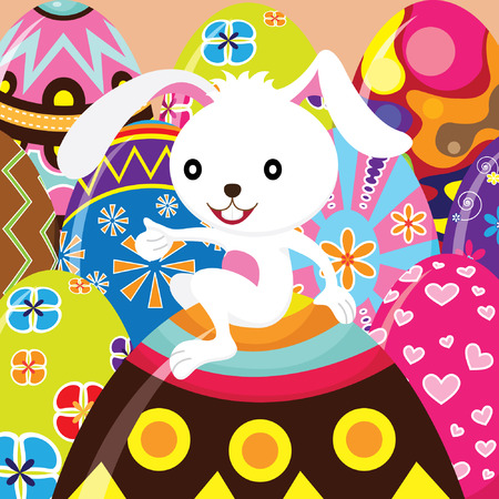 그린: Easter Bunny and Painted Eggs