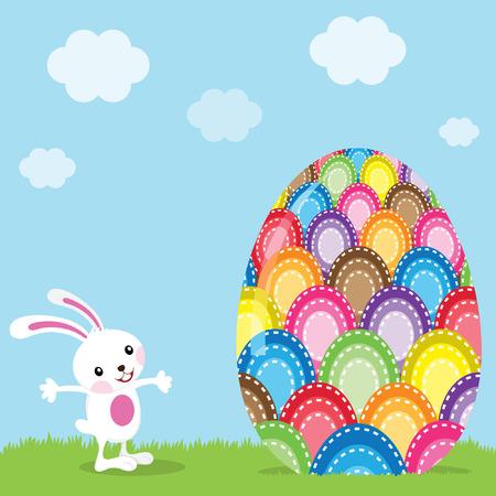 Conejo de Pascua y coloridos huevos pintados Ilustración de vector