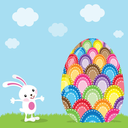 giant easter egg: Easter Bunny and Colorful Painted Egg