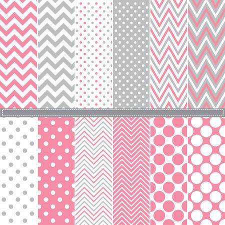 Polka Dot and Chevron seamless pattern set