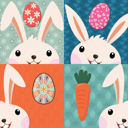 cartoon easter basket: Retro Easter Bunny with Painted Eggs