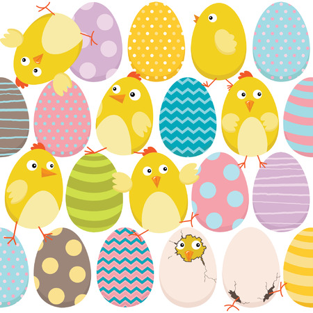 vector cartoons: Easter Chicks and Sweet EasterEggs