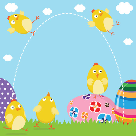 vector cartoons: Happy Easter Chicks