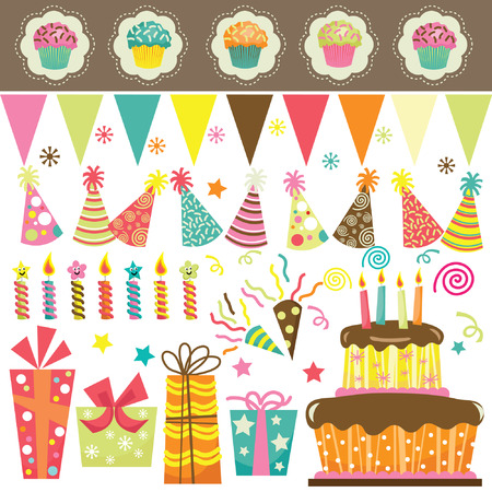 gateau anniversaire: Birthday Party Celebration Set Illustration