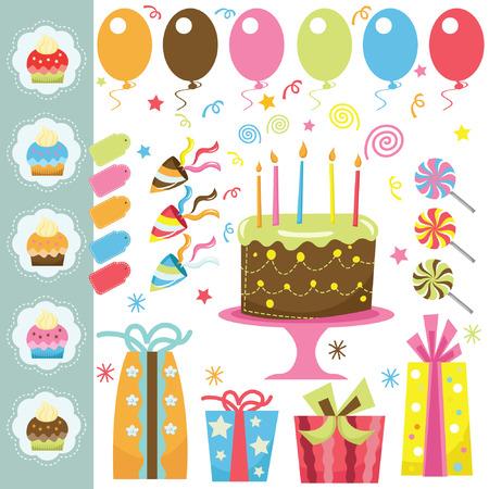 tortas de cumpleaños: Elementos fiesta de cumpleaños