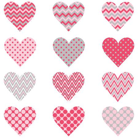 Pink Chevron Polka Dot Heart Shape Pattern Ilustracja