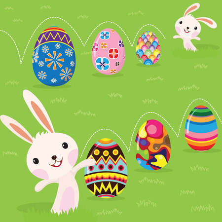 cartoon rabbit: Easter bunny playful with painted eggs