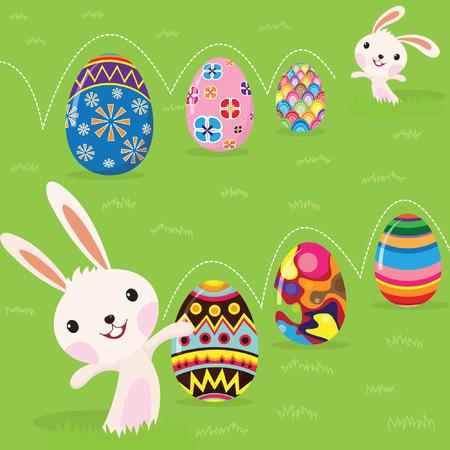 osterhase: Osterhase spielerisch mit bemalten Eiern