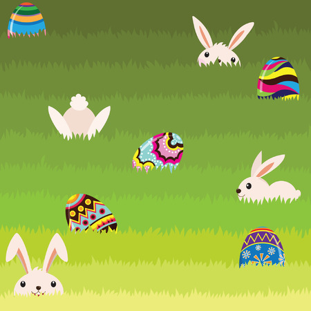 Easter Bunny And Colorful Painted Egg Vector