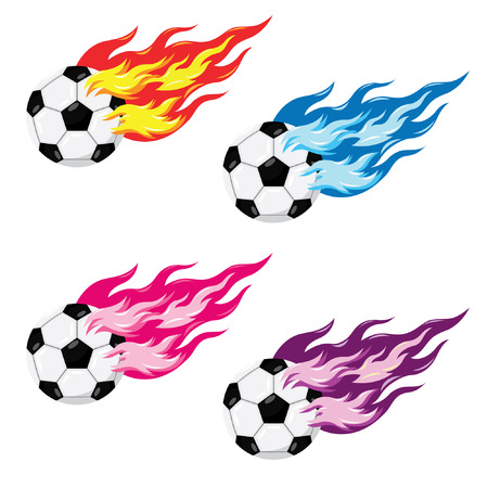 making a fire: Soccer Ball With Fire Illustration