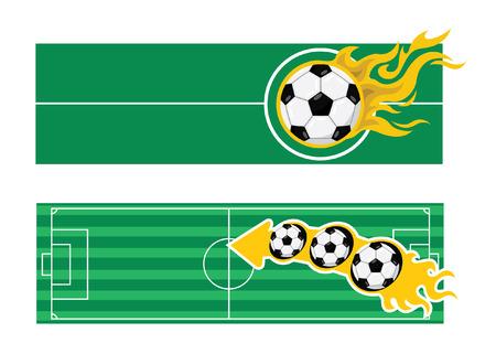 making a fire: Soccer football banner Illustration