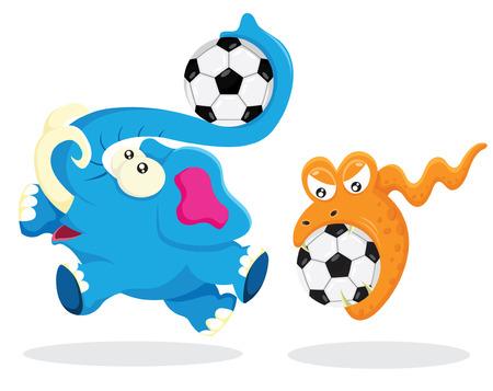 ballon foot: Elephant et Snake jouer avec ballon de soccer