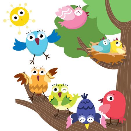 かわいい鳥の家族  イラスト・ベクター素材