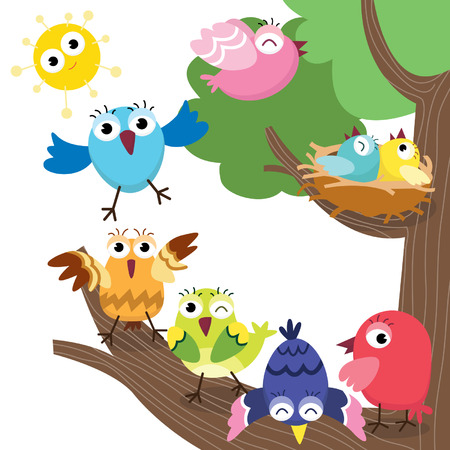 Cute Birds Family 向量圖像