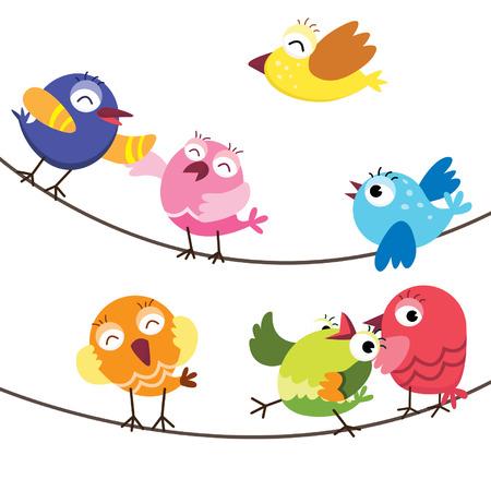 pajaro caricatura: Pájaros lindos Vectores