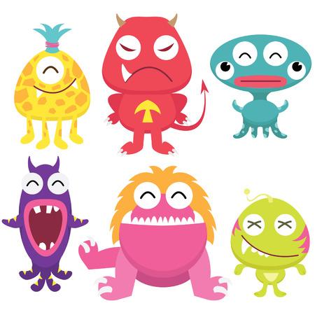 cartoon demon: Litter Monsters Set