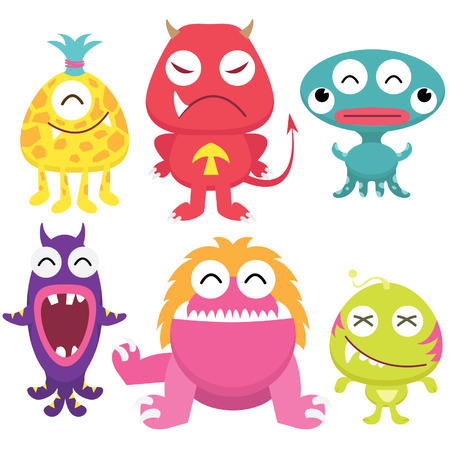 Zwerfvuil Monsters Set Stock Illustratie