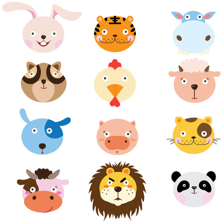 vector cartoons: Cute Animal Heads Element Illustration