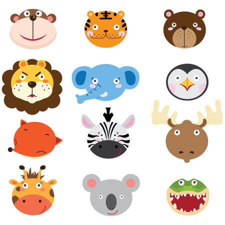 safari animals: Cute Animal Heads Set Illustration