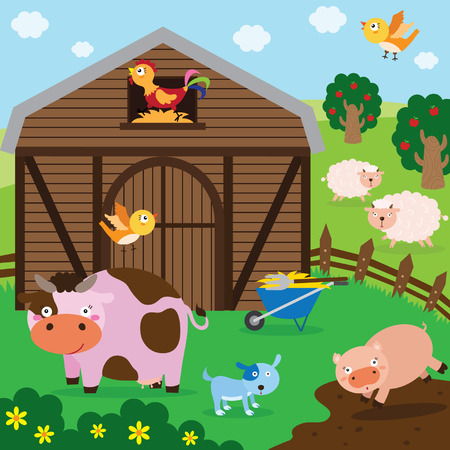 the animated cartoon: Farm Animals