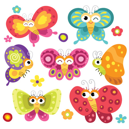 the animated cartoon: Cute and Colorful Butterflies