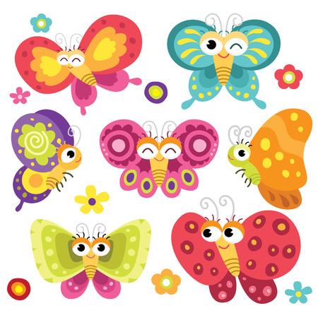 cartoon mariposa: Mariposas lindas y coloridas