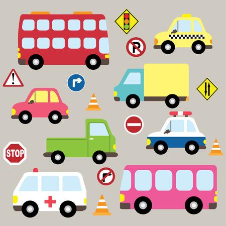 brandweer cartoon: Leuke set Voertuigen Transport