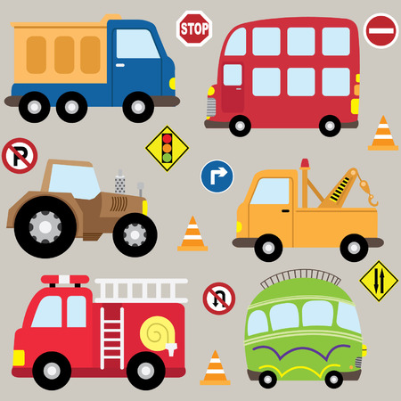 camion caricatura: Vehículos de la historieta juego de transporte Vectores