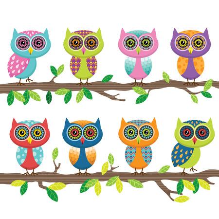 Cute Owl Collection Set Standard-Bild - 41722115