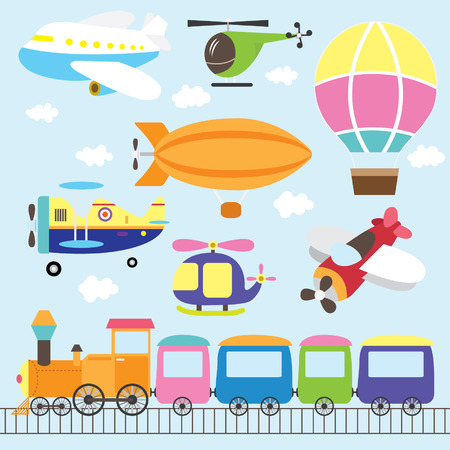 airplane cartoon: Cute Vehicles Set