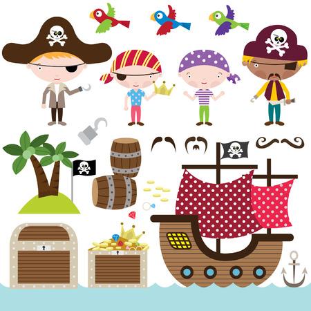 calavera caricatura: Elementos pirata